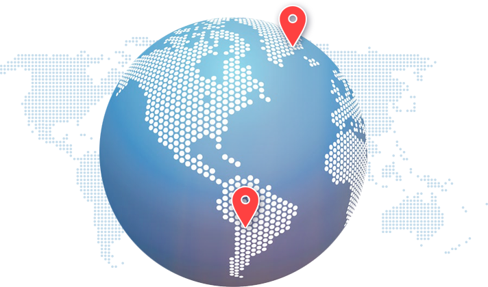 Globe showing collection and delivery points